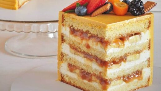 Very tasty caramel cake with pear filling and nuts