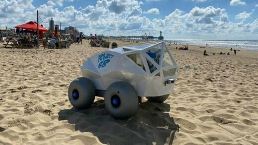In the Netherlands, created a robot that collects cigarette butts on the beach